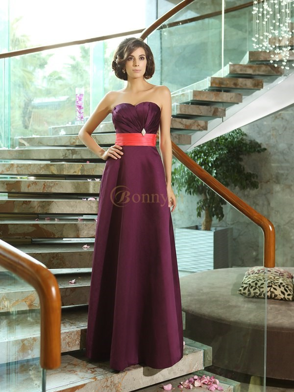Grape Satin Sweetheart A-Line/Princess Floor-Length Bridesmaid Dresses