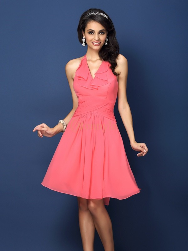 Watermelon Chiffon Halter A-Line/Princess Short/Mini Bridesmaid Dresses