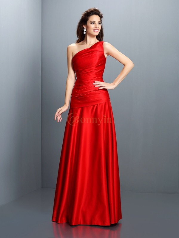 Red Satin One-Shoulder A-Line/Princess Floor-Length Dresses