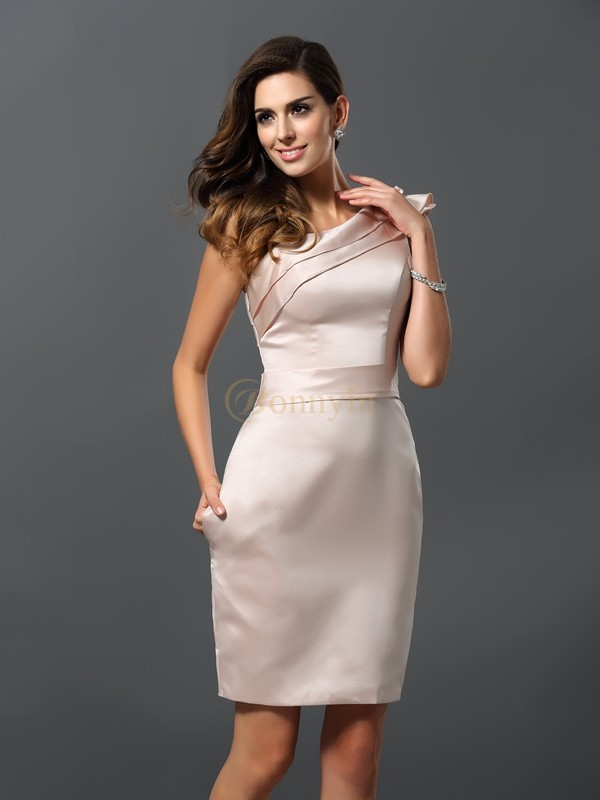 Pearl Pink Satin One-Shoulder Sheath/Column Knee-Length Dresses