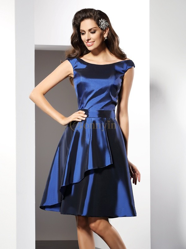 Royal Blue Taffeta Scoop A-Line/Princess Knee-Length Bridesmaid Dresses