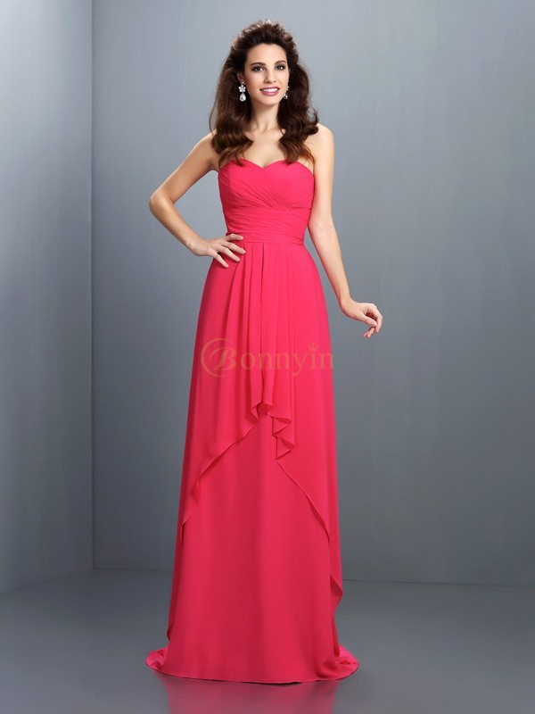 Fuchsia Chiffon Sweetheart A-Line/Princess Sweep/Brush Train Bridesmaid Dresses