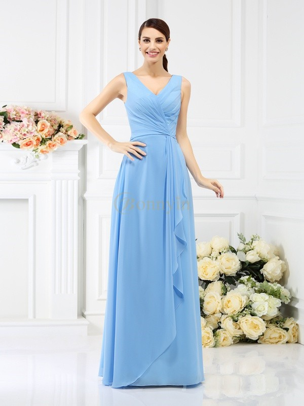 Light Sky Blue Chiffon V-neck Sheath/Column Floor-Length Bridesmaid Dresses