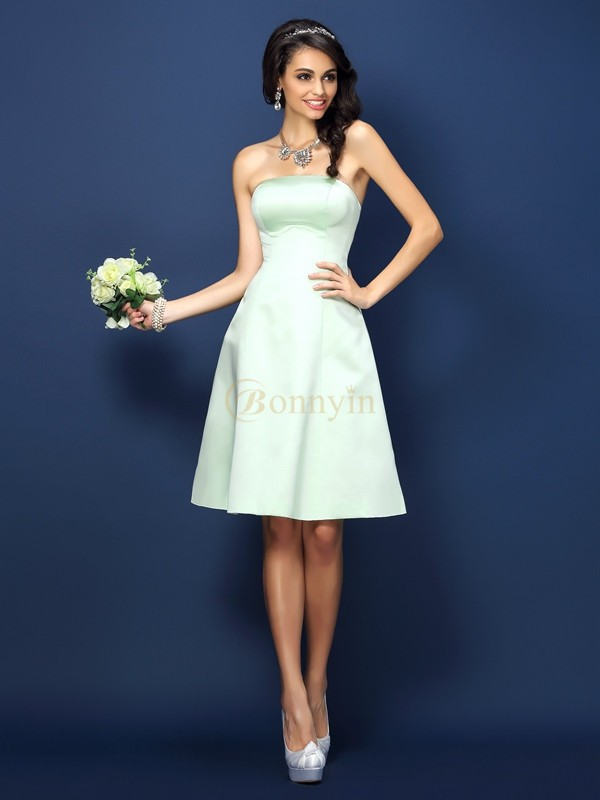 Sage Satin Strapless A-Line/Princess Knee-Length Bridesmaid Dresses