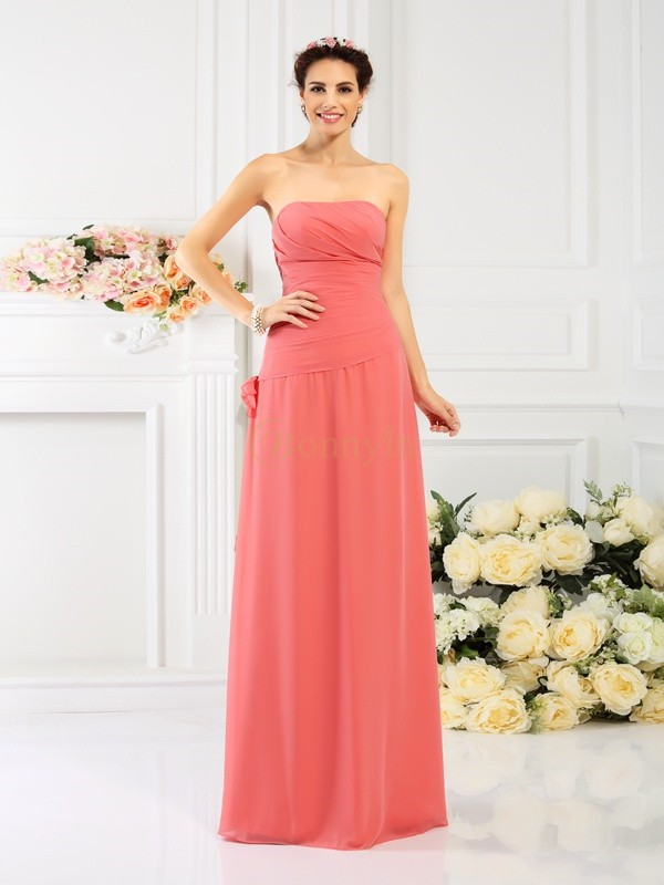 Watermelon Chiffon Strapless Sheath/Column Floor-Length Bridesmaid Dresses