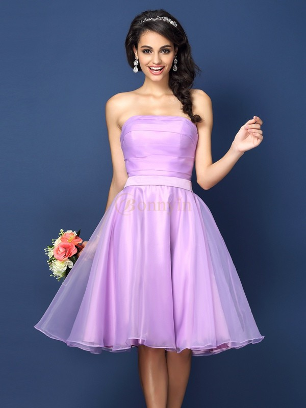 Lavender Satin Strapless A-Line/Princess Knee-Length Bridesmaid Dresses