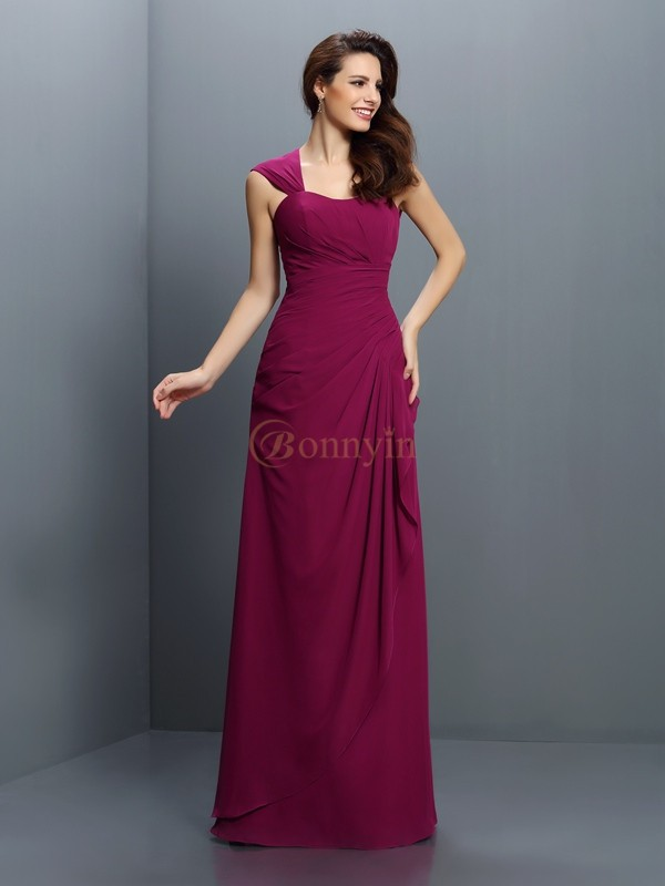 Burgundy Chiffon Straps A-Line/Princess Floor-Length Bridesmaid Dresses