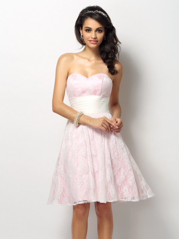 Pink Satin Sweetheart A-Line/Princess Short/Mini Bridesmaid Dresses