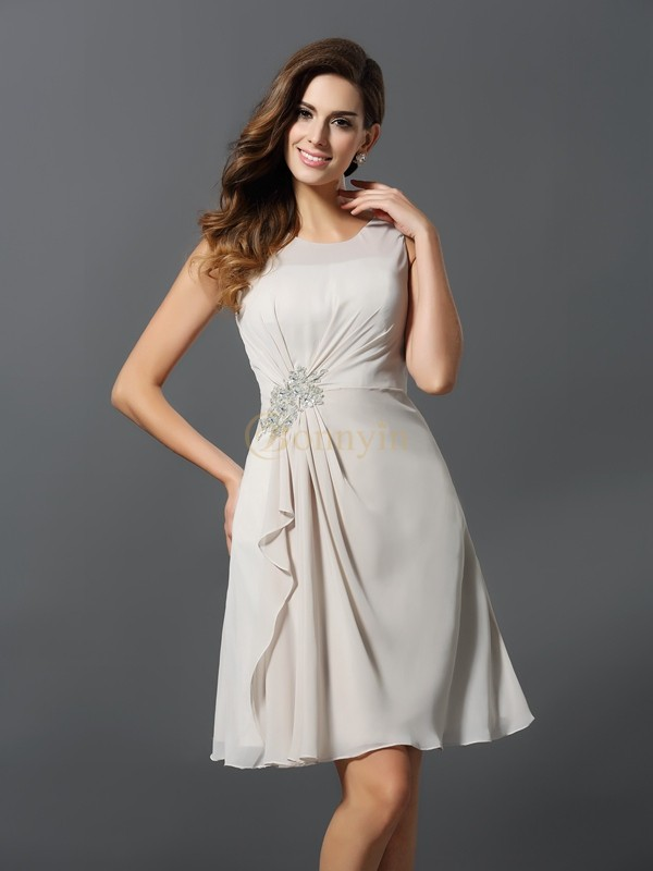Ivory Chiffon Scoop A-Line/Princess Short/Mini Bridesmaid Dresses
