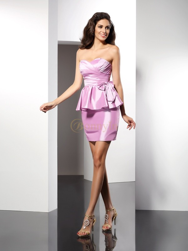 Pink Taffeta Sweetheart Sheath/Column Short/Mini Dresses