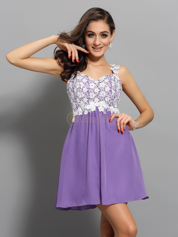 Lilac Chiffon Straps A-Line/Princess Short/Mini Dresses