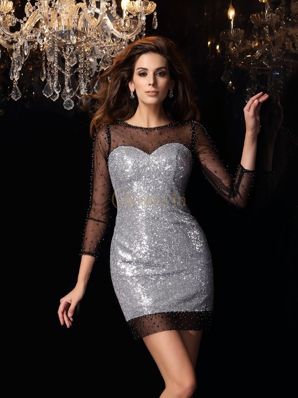 Silver Sequins Scoop Sheath/Column Short/Mini Dresses