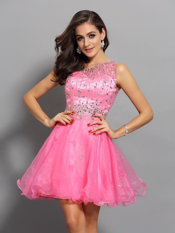 Pink Organza One-Shoulder A-Line/Princess Short/Mini Dresses