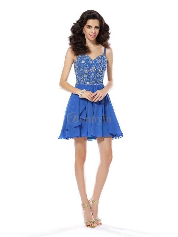 Blue Chiffon Spaghetti Straps A-Line/Princess Short/Mini Dresses
