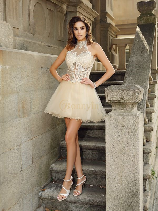 Champagne Tulle High Neck A-Line/Princess Short/Mini Dresses