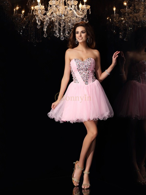 Pink Elastic Woven Satin Sweetheart A-Line/Princess Short/Mini Dresses