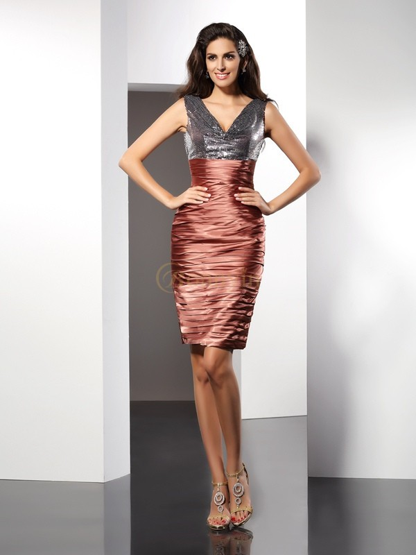 Brown Silk like Satin V-neck Sheath/Column Knee-Length Dresses