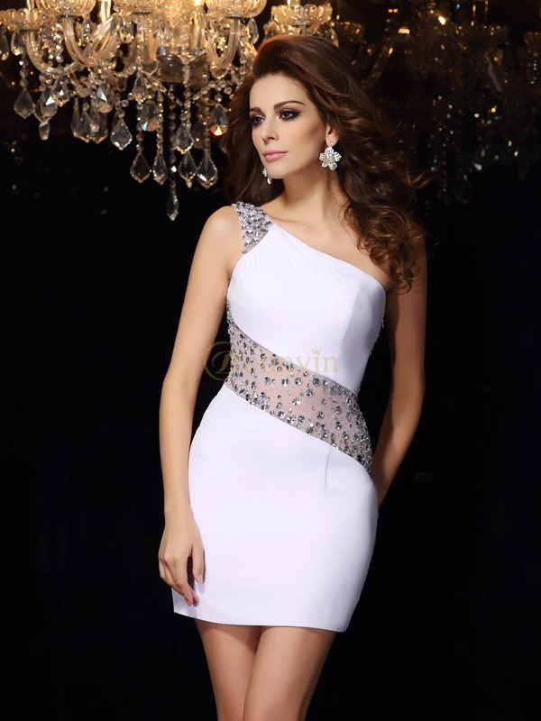 White Chiffon One-Shoulder Sheath/Column Short/Mini Dresses