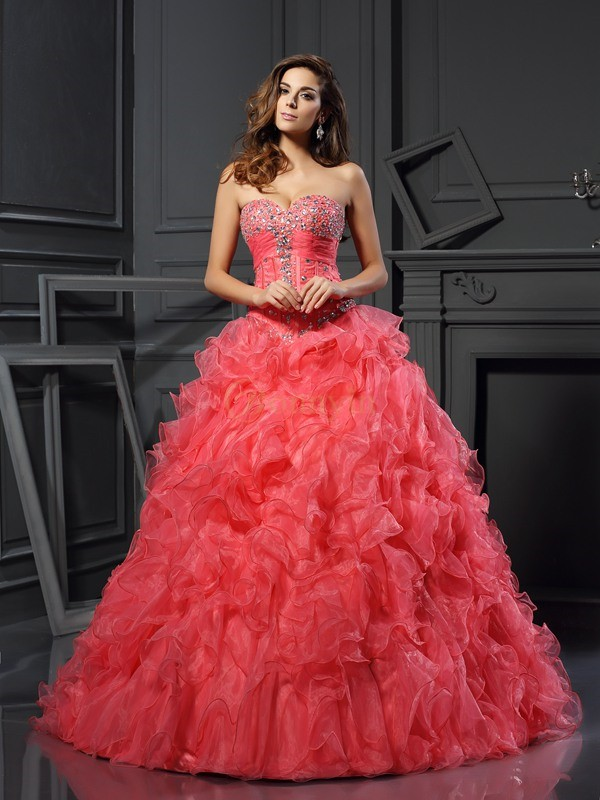 Watermelon Organza Sweetheart Ball Gown Floor-Length Prom Dresses