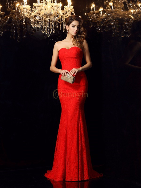 Red Lace Sweetheart Trumpet/Mermaid Court Train Dresses