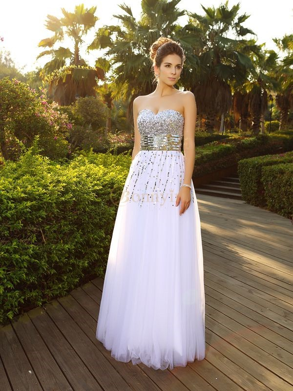 White Organza Sweetheart A-Line/Princess Floor-Length Dresses
