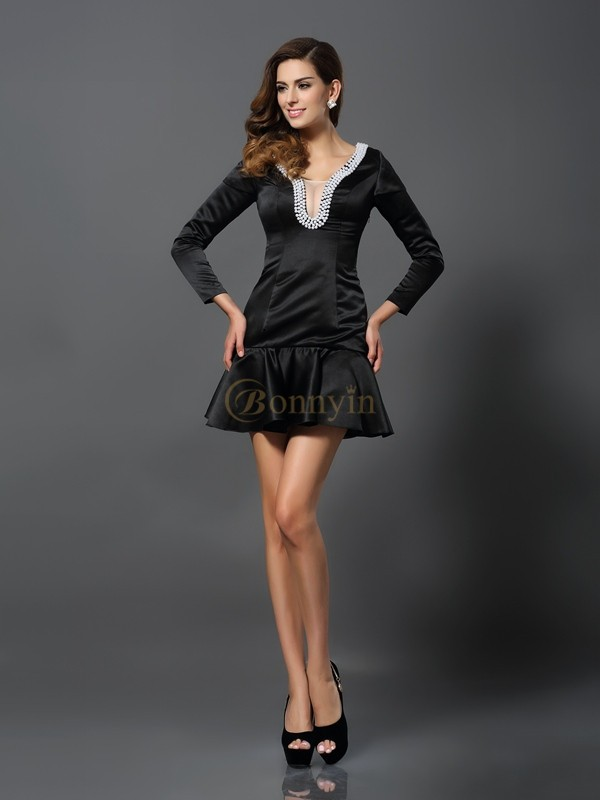 Black Satin V-neck A-Line/Princess Short/Mini Dresses