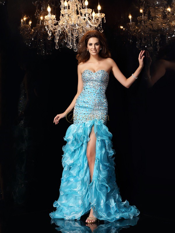 Blue Organza Sweetheart Trumpet/Mermaid Asymmetrical Dresses