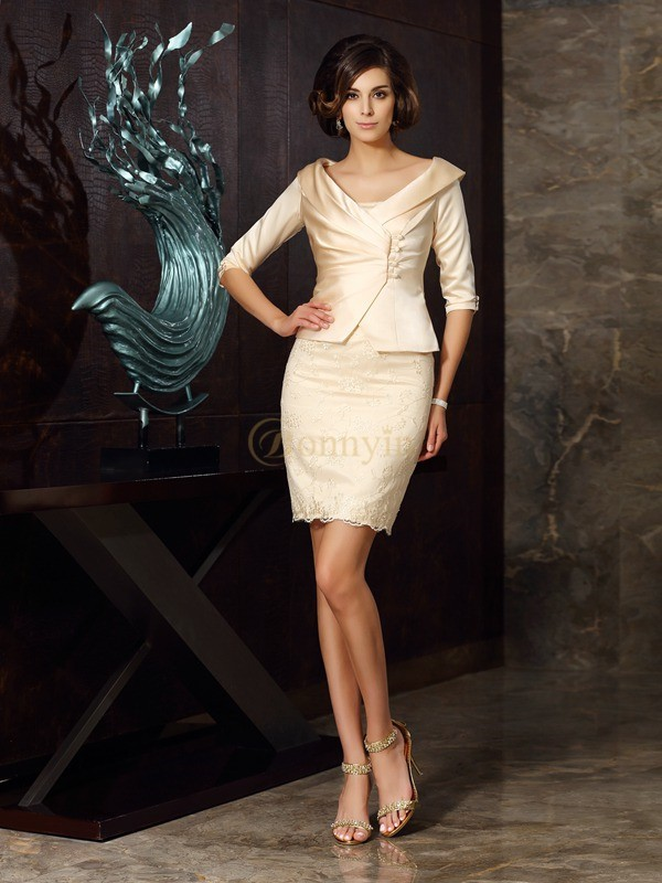 Champagne Satin Strapless Sheath/Column Short/Mini Mother of the Bride Dresses