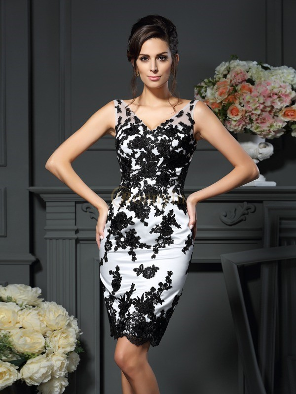 Satin V-neck Sheath/Column Knee-Length Mother of the Bride Dresses