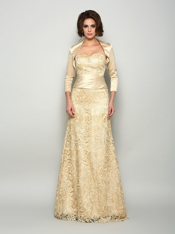 Champagne Satin Sweetheart A-Line/Princess Floor-Length Mother of the Bride Dresses