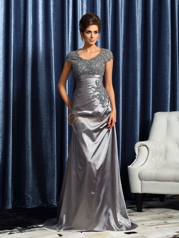 Silver Taffeta Scoop Trumpet/Mermaid Sweep/Brush Train Mother of the Bride Dresses