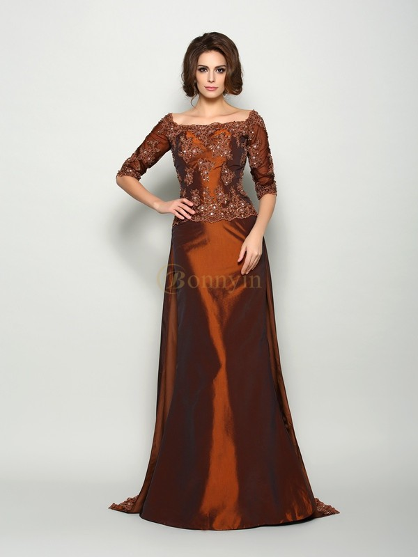 Chocolate Taffeta Off-the-Shoulder A-Line/Princess Sweep/Brush Train Mother of the Bride Dresses