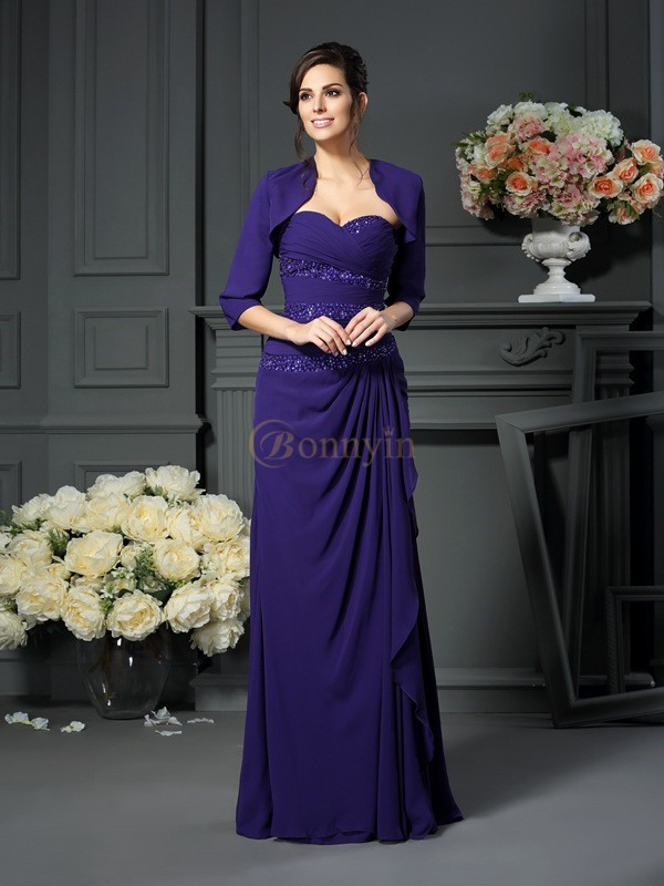 Grape Chiffon Sweetheart A-Line/Princess Floor-Length Mother of the Bride Dresses