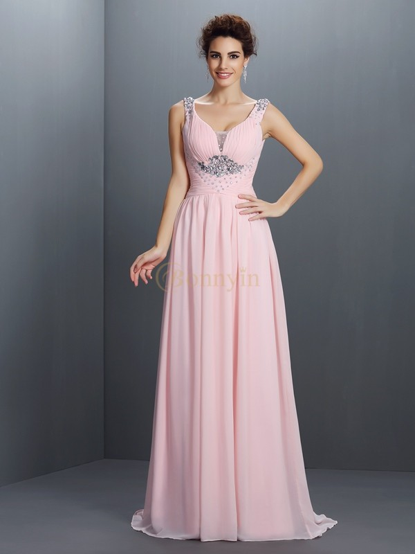 Pearl Pink Chiffon Straps A-Line/Princess Sweep/Brush Train Prom Dresses