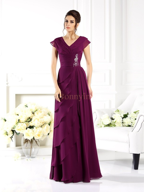 Regency Chiffon V-neck A-Line/Princess Floor-Length Mother of the Bride Dresses