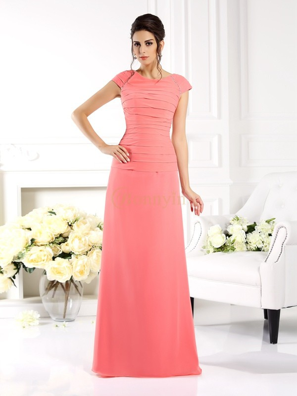 Pink Chiffon Bateau A-Line/Princess Floor-Length Mother of the Bride Dresses