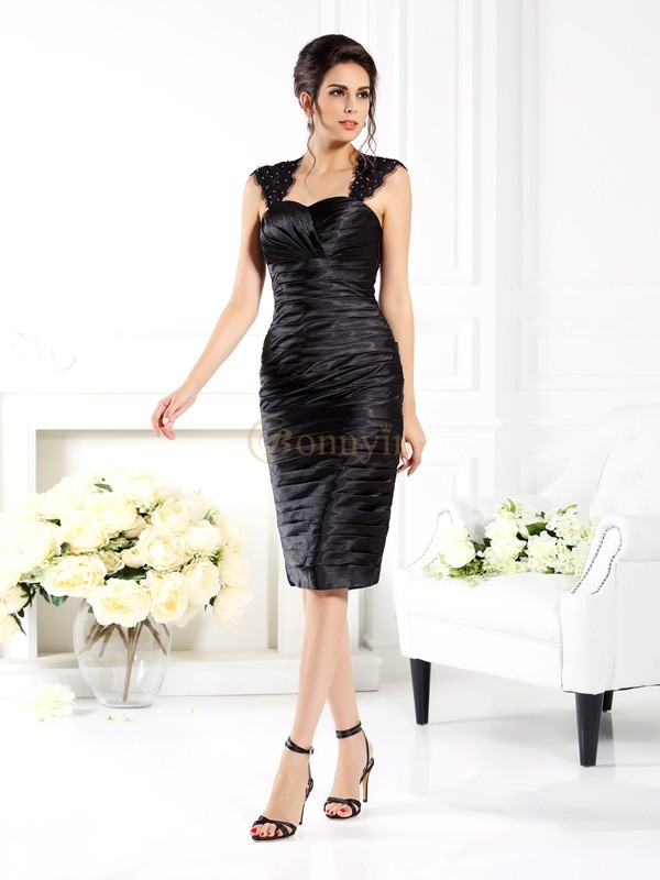 Black Taffeta Straps Sheath/Column Knee-Length Mother of the Bride Dresses