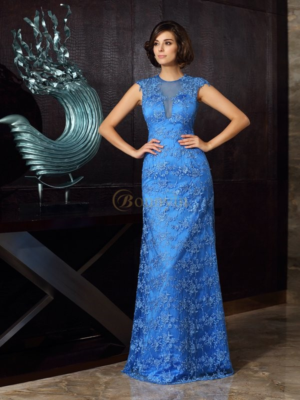 Blue Satin High Neck Trumpet/Mermaid Floor-Length Mother of the Bride Dresses