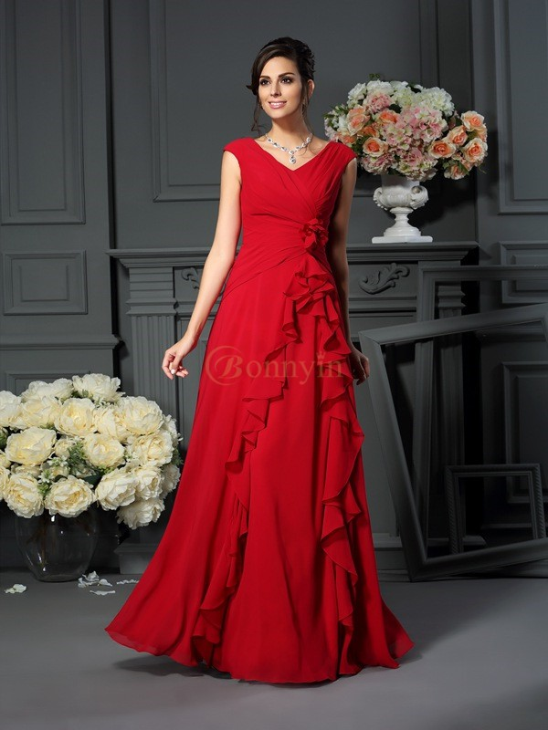 Burgundy Chiffon V-neck A-Line/Princess Floor-Length Mother of the Bride Dresses