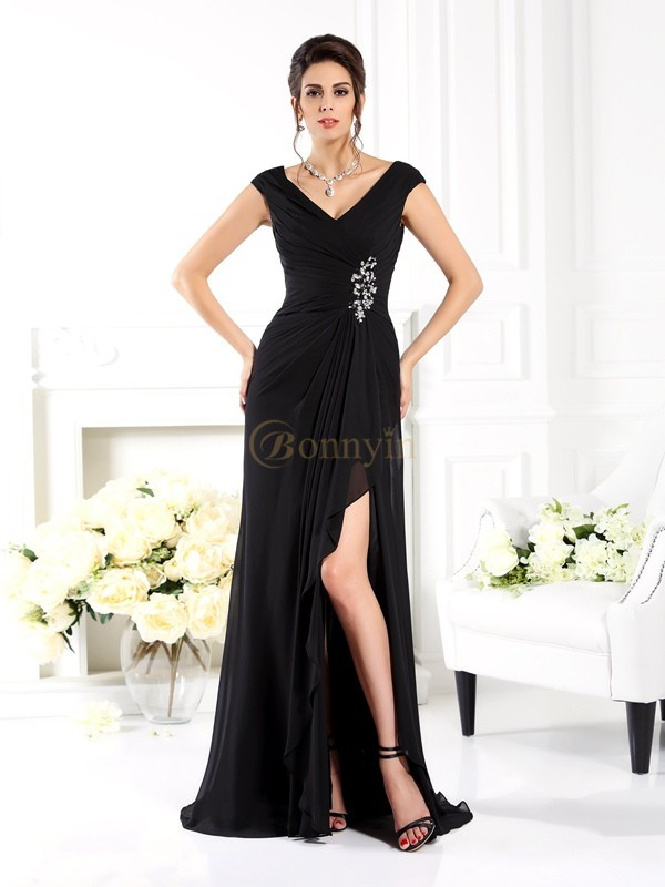Black Chiffon V-neck A-Line/Princess Sweep/Brush Train Mother of the Bride Dresses
