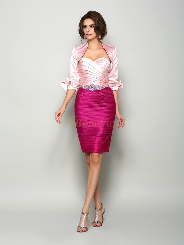 Fuchsia Satin Sweetheart Sheath/Column Knee-Length Mother of the Bride Dresses