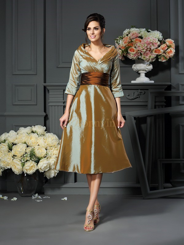 Brown Taffeta V-neck A-Line/Princess Tea-Length Mother of the Bride Dresses