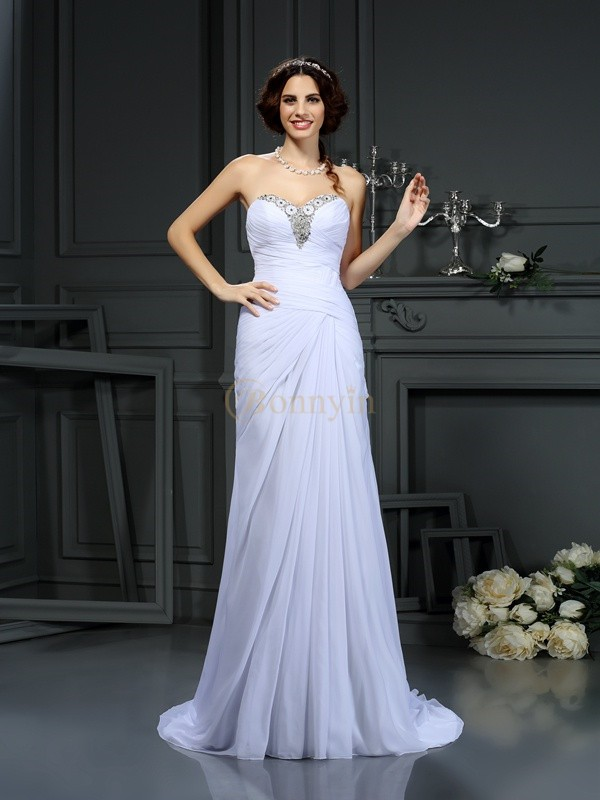 White Chiffon Sweetheart Sheath/Column Sweep/Brush Train Wedding Dresses