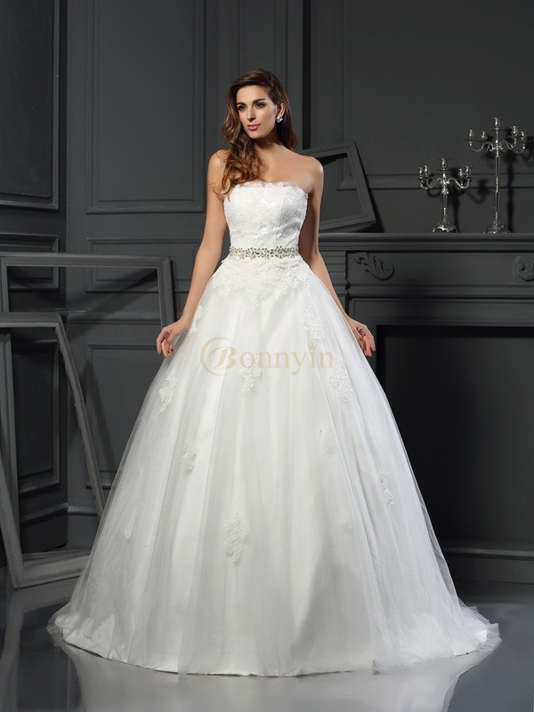 Ivory Net Strapless Ball Gown Court Train Wedding Dresses