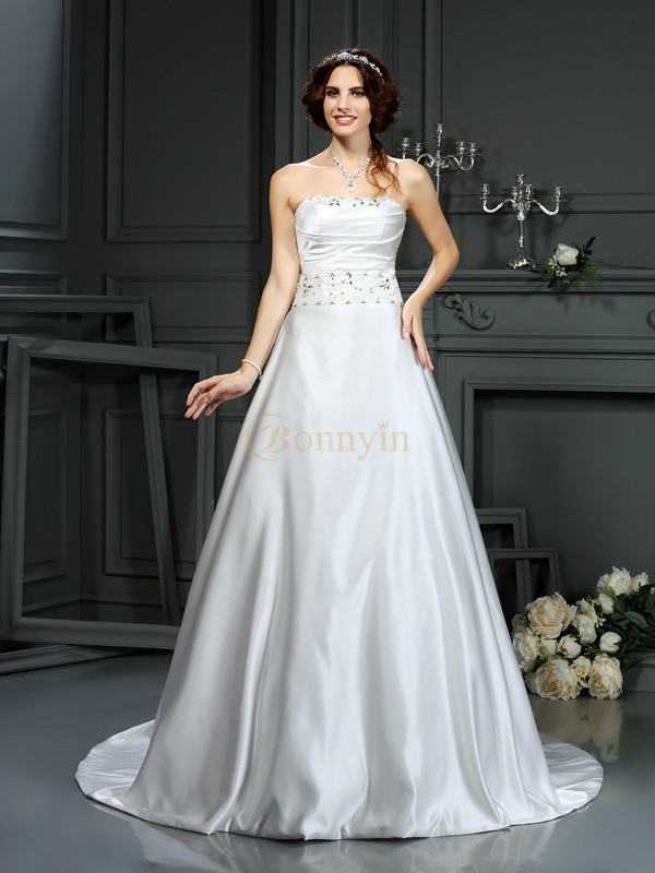 Ivory Satin Strapless A-Line/Princess Court Train Wedding Dresses