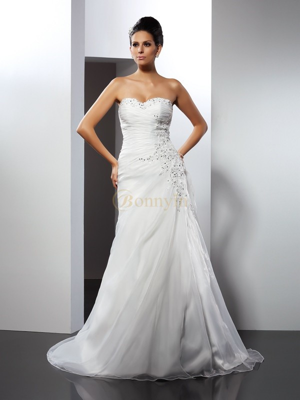 White Organza Sweetheart A-Line/Princess Court Train Wedding Dresses