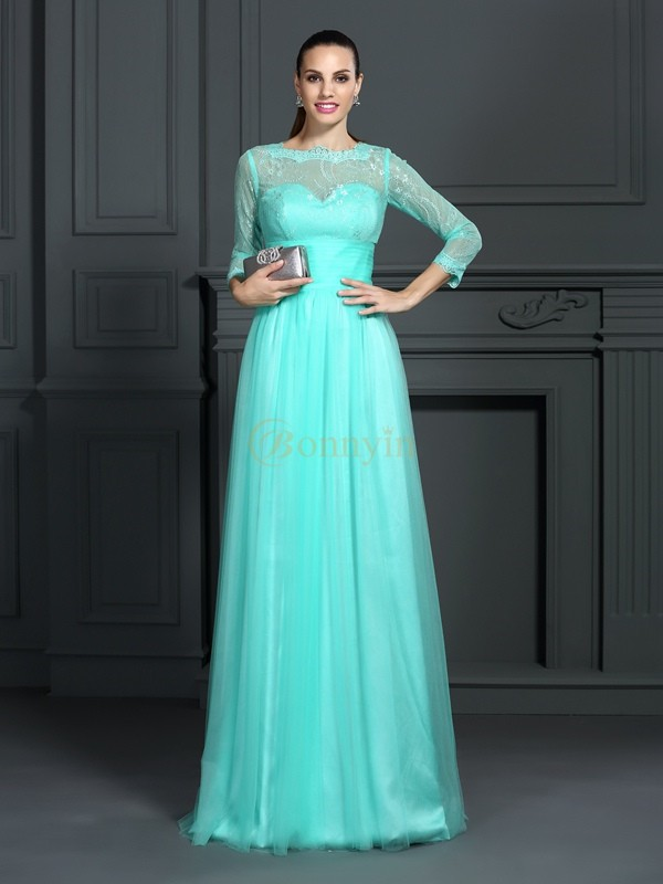 Hunter Green Elastic Woven Satin Bateau A-Line/Princess Sweep/Brush Train Dresses