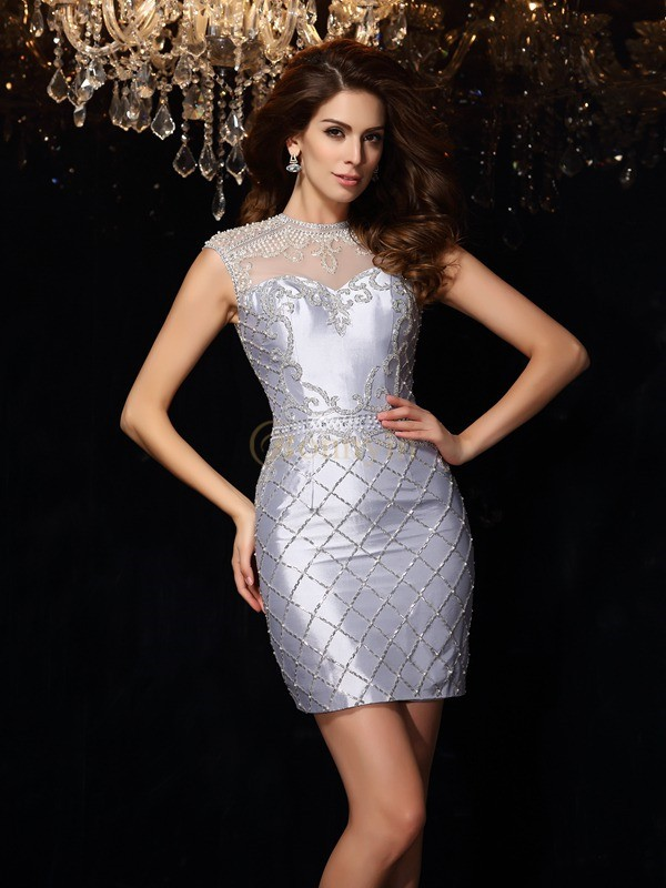 Silver Taffeta High Neck Sheath/Column Short/Mini Dresses