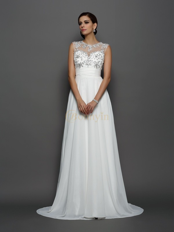 Ivory Chiffon Bateau A-Line/Princess Court Train Dresses