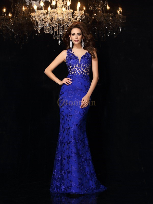 Royal Blue Satin High Neck Trumpet/Mermaid Sweep/Brush Train Dresses